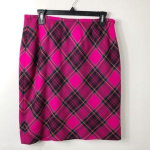 Vintage Jones New York Pink Plaid Wool Skirt